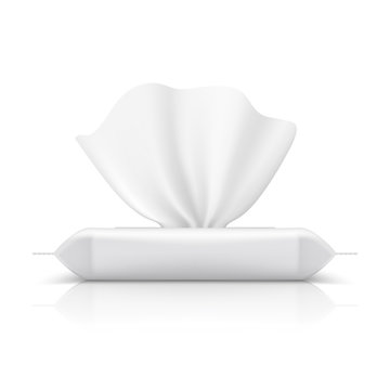 Wet wipes flow pack. Baby tissue realistic packaging blank makeup product white napkin plastic package. Flow pack vector template