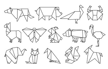 Line origami animals. Abstract polygon animals, folded paper shapes, modern japan design templates. Vector animal icons set