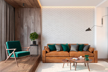 Modern living room interior with brick wall blank wall, sofa, lounge chair, table, wooden wall and floor, plants, carpet, hidden lighting. 3d render illustration mockup.