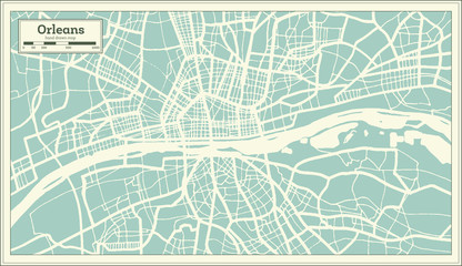 Orleans France City Map in Retro Style. Outline Map. Vector Illustration.