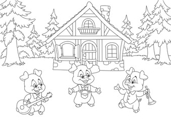 Fairy tale three little pigs Forest nature house background cartoon album illustration coloring page