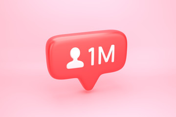 One million friends or followers social media notification with heart icon