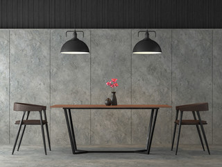 Modern loft dining room 3d render,There are polished concrete wall and floor,Furnished with black steel and wood furniture,Decorate with industrial style lamp.