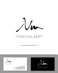 N M NM initial handwriting logo template vector.  signature logo concept
