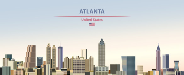 Fototapete - Vector illustration of  Atlanta city skyline on colorful gradient beautiful day sky background with flag of United States
