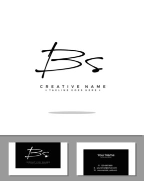 B S BS initial handwriting logo template vector.  signature logo concept