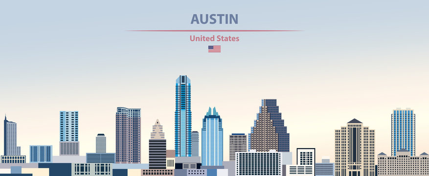 Vector illustration of  Austin city skyline on colorful gradient beautiful day sky background with flag of United States