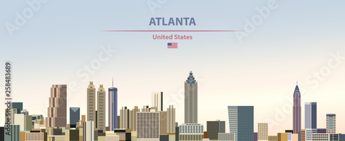 Fototapete Vector illustration of  Atlanta city skyline on colorful gradient beautiful day sky background with flag of United States