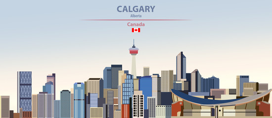Fototapete - Vector illustration of Calgary city skyline on colorful gradient beautiful day sky background with flag of Canada