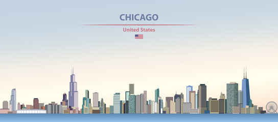 Wall Mural - Vector illustration of Chicago  city skyline on colorful gradient beautiful day sky background with flag of United States
