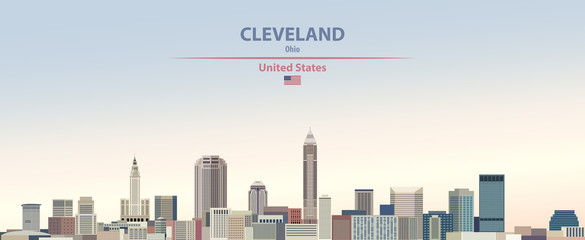 Fototapete - Vector illustration of  Cleveland city skyline on colorful gradient beautiful day sky background with flag of United States