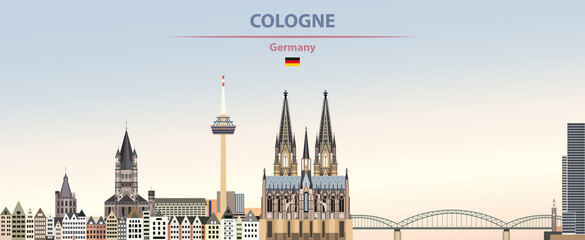 Wall Mural - Vector illustration of Cologne city skyline on colorful gradient beautiful day sky background with flag of Germany