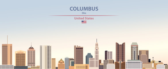 Fototapete - Vector illustration of  Columbus city skyline on colorful gradient beautiful day sky background with flag of United States