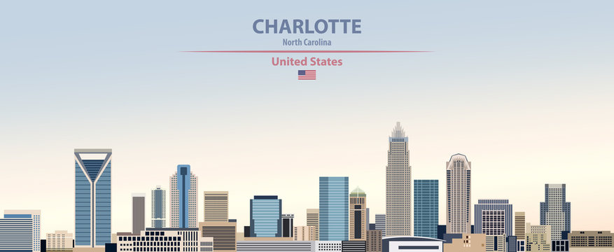 Vector illustration of  Charlotte city skyline on colorful gradient beautiful day sky background with flag of United States