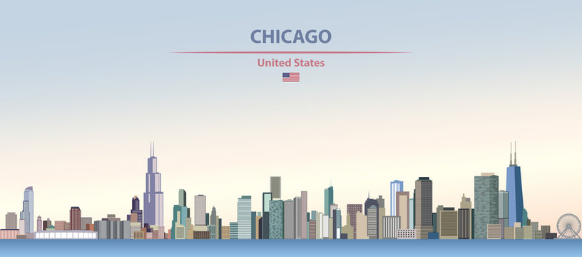 Vector illustration of Chicago  city skyline on colorful gradient beautiful day sky background with flag of United States