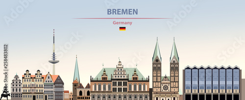 Fototapete Vector illustration of Bremen city skyline on colorful gradient beautiful day sky background with flag of Germany
