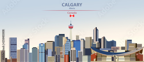 Fototapete Vector illustration of Calgary city skyline on colorful gradient beautiful day sky background with flag of Canada