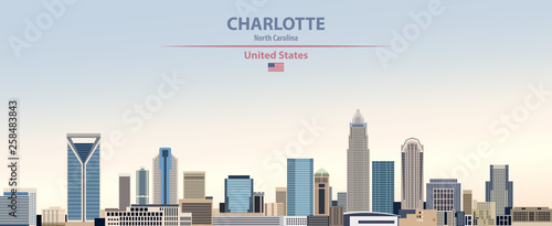 Fototapete Vector illustration of  Charlotte city skyline on colorful gradient beautiful day sky background with flag of United States