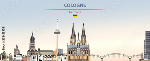 Fototapete Vector illustration of Cologne city skyline on colorful gradient beautiful day sky background with flag of Germany