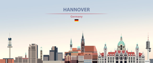 Wall Mural - Vector illustration of Hannover city skyline on colorful gradient beautiful day sky background with flag of Germany