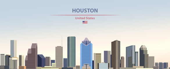 Wall Mural - Vector illustration of  Houston city skyline on colorful gradient beautiful day sky background with flag of United States