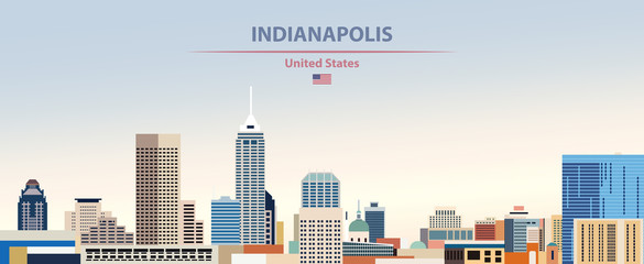 Fototapete - Vector illustration of  Indianapolis city skyline on colorful gradient beautiful day sky background with flag of United States