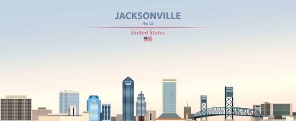 Fototapete - Vector illustration of  Jacksonville city skyline on colorful gradient beautiful day sky background with flag of United States
