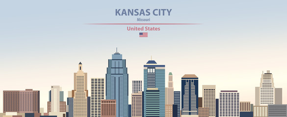 Fototapete - Vector illustration of  Kansas city skyline on colorful gradient beautiful day sky background with flag of United States
