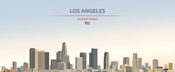 Fototapete - Vector illustration of  Los Angeles city skyline on colorful gradient beautiful day sky background with flag of United States