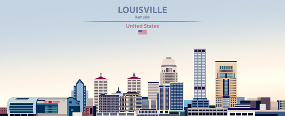 Wall Mural - Vector illustration of  Louisville city skyline on colorful gradient beautiful day sky background with flag of United States