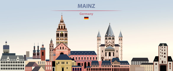 Fototapete - Vector illustration of Mainz city skyline on colorful gradient beautiful day sky background with flag of Germany