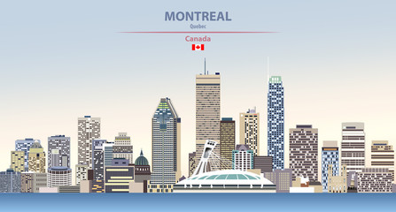Fototapete - Vector illustration of Montreal city skyline on colorful gradient beautiful day sky background with flag of Canada