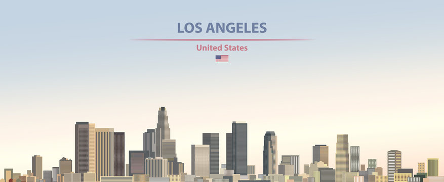 Vector illustration of  Los Angeles city skyline on colorful gradient beautiful day sky background with flag of United States