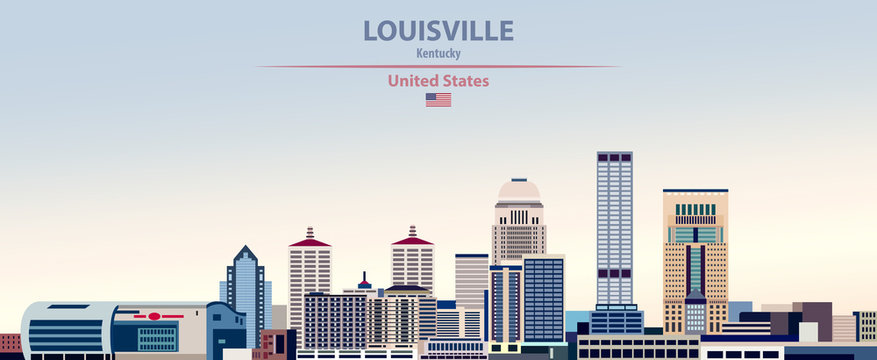 Vector illustration of  Louisville city skyline on colorful gradient beautiful day sky background with flag of United States