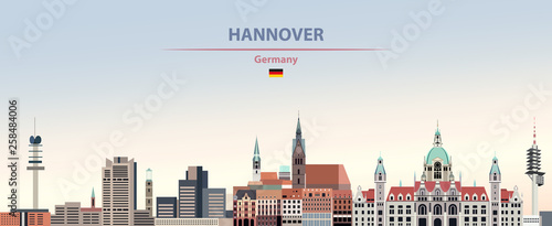 Fototapete Vector illustration of Hannover city skyline on colorful gradient beautiful day sky background with flag of Germany