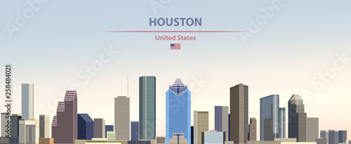 Fototapete Vector illustration of  Houston city skyline on colorful gradient beautiful day sky background with flag of United States