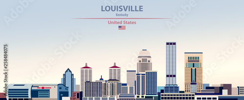 Fototapete Vector illustration of  Louisville city skyline on colorful gradient beautiful day sky background with flag of United States