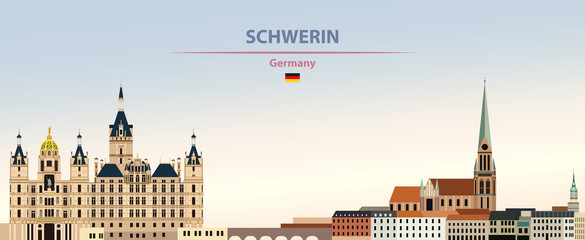 Fototapete - Vector illustration of Schwerin city skyline on colorful gradient beautiful day sky background with flag of Germany