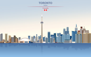 Wall Mural - Vector illustration of Toronto city skyline on colorful gradient beautiful day sky background with flag of Canada