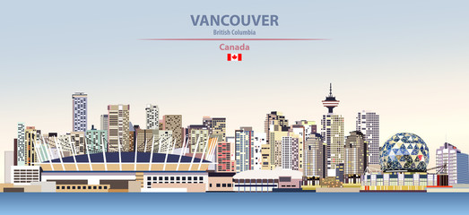 Fototapete - Vector illustration of Vancouver city skyline on colorful gradient beautiful day sky background with flag of Canada