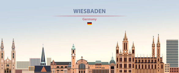Fototapete - Vector illustration of Wiesbaden city skyline on colorful gradient beautiful day sky background with flag of Germany