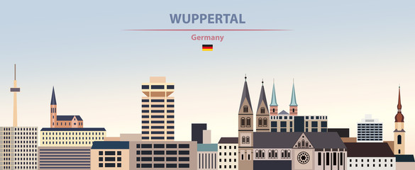 Fototapete - Vector illustration of Wuppertal city skyline on colorful gradient beautiful day sky background with flag of Germany