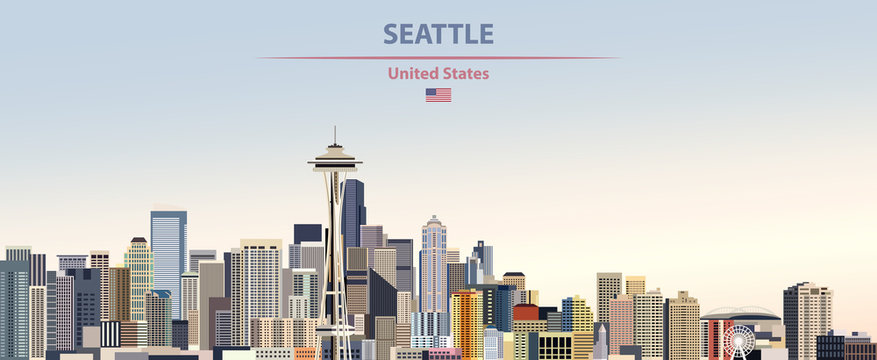 Vector illustration of  Seattle city skyline on colorful gradient beautiful day sky background with flag of United States