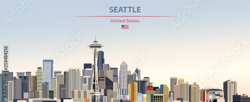 Fototapete Vector illustration of  Seattle city skyline on colorful gradient beautiful day sky background with flag of United States
