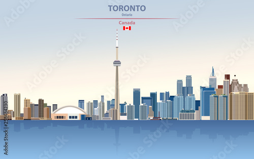 Fototapete Vector illustration of Toronto city skyline on colorful gradient beautiful day sky background with flag of Canada
