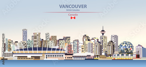 Fototapete Vector illustration of Vancouver city skyline on colorful gradient beautiful day sky background with flag of Canada