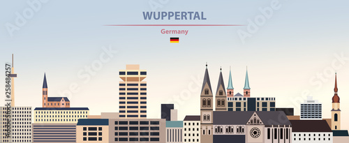 Fototapete Vector illustration of Wuppertal city skyline on colorful gradient beautiful day sky background with flag of Germany