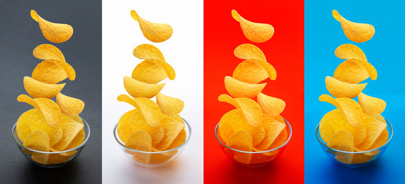 Potato chips falling into glass bowl isolated on white background, flying potato crisps, different colored backgrounds