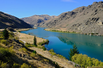 Clyde dam and Lake Dunstan near Cromwell, Otago, New Zealand
