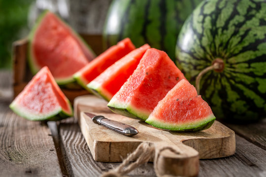 Tasty and fresh watermelon in sunny day